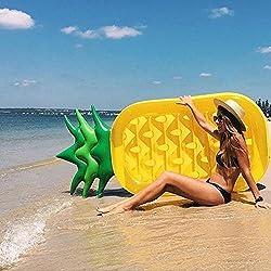PlayMaty Float Raft flotador de piña inflable juguetes de la piscina de verano para adultos y niños amarillo / verde