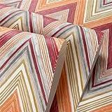 UCCUN Moderne Farbe abstrakte Welle Stripe Non-Woven 3D Wallpaper Wohnzimmer Fernseher Sofa Schlafzimmer Hintergrund Wandverkleidung Tapete Roll 3D, Red Orange, 53 CM X 10 M