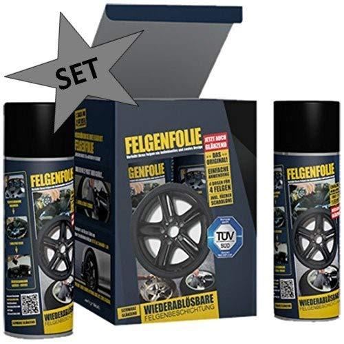 mibenco 71001203 FELGENFOLIE Set, 4 x 400 ml, Schwarz Glänzend - Original 4er Set - Flüssiggummi/Sprühfolie - Farbe und Schutz zum Felgen lackieren + Vorreiniger 250ml