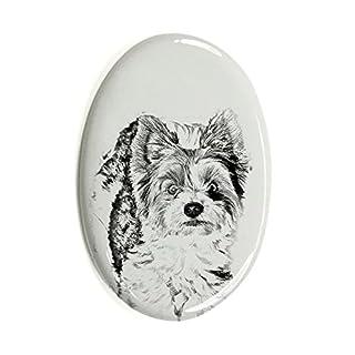 ArtDog Ltd. Biewer Yorkshire Terrier, Oval Grabstein aus Keramikfliesen mit Einem Bild eines Hundes