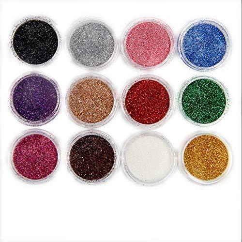 Nagel-Kunst-Ausrüstung 12 Farben helle Glitzer glänzt Nagel-Dekor