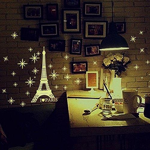(LIGEsayTOY Ein Set Kinder Schlafzimmer Fluoreszierende Glow In The Dark Stars Wandaufkleber Prinzessin Herzen Vogel Federn Ananas mr Bilder Tiger Garderobe riesiger messlatte)