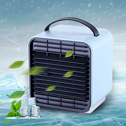 Enfriador Portátil,Ventilador de Refrigeración de Iones Negativos Portátil pequeño Aire Acondicionado Artefacto USB Casa Cama Muda Escritorio de Oficina Pequeño Ventilador del coche de carga (Azul)