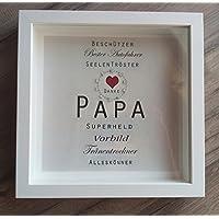 Individuelles Geschenk Papa,Vatertag, Bild im weißen Rahmen,Besonderes Geschenk, personalisierbar und einzigartig,Wanddeko,Superheld, Autofahrer, Seelentröster, Bester Papa,Handmade