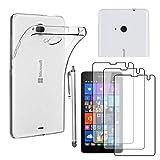 ebestStar - Microsoft Lumia 535 Hülle Nokia Lumia 535 Handyhülle [Ultra Dünn], Durchsichtige Klar Schutzhülle, Soft Flex Silikon +Stift +3 Schutzfolies, Transparent [Phone: 140.2 x 72.4 x 8.8mm 5.0