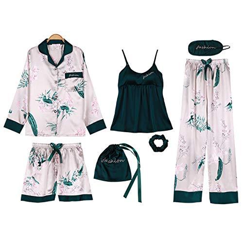XMDNYE Lisacmvpnel 7 Pcs EIS Seide Frau Pyjamas Nachthemd + Top + Lange Kurze Hose Set Druck Sexy Weibliche Pyjama Set