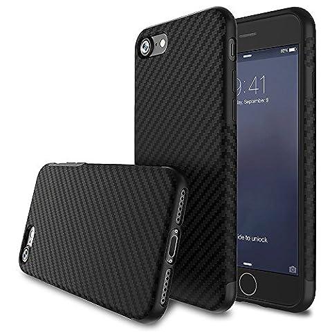 Pour iPhone 7 (4.7 Pouces) Coque,L-FADNUT Coque iPhone 5S Fibre Carbon TPU Gel de Silicone Ultramince Housse et Anti-Choc Protection Coque - Noir