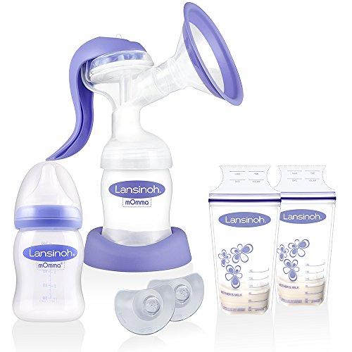 Lansinoh Handmilchpumpe 2-Phasen & Membrantechnologie // NaturalWave Sauger // ab Geburt // 2 x Lansinoh Muttermilchbeutel // 2 x Stillhütchen inkl. Transportbox