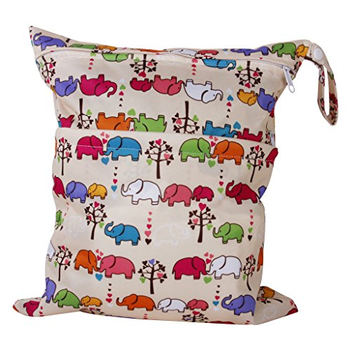 2-Zip Washable Baby Cloth Diaper Nappy Bag Elephant Pattern Test