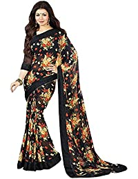 Women's Clothing Designer Party Wear Black Georgette Wedding Saree With Blouse Piece (Georgette,Black, Free Size)