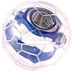 Blue plastic football theme watch in football Christmas bauble case