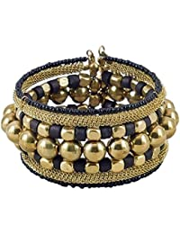 DollsofIndia Metal Bead Cuff Bracelet - Free Size- 1.3 Inches Wide (RE87) - Golden, Black
