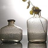 SHINIQ Geometrisch Vase Kombination Kreativ Rauchgrau Blase Glasvase Handgefertigt Home Dekoration Kunst Handwerk 2 Stücke