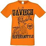 Trachtenshirt Herren :+: Kurzarm Trachten T-Shirt Männer Volksfest Oktoberfest Uaviech :+: Übergrößen bis 5XL Farbe: Orange Gr: S