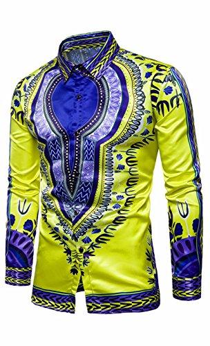 on Down Kleid Shirts Shiny Slim Fit Disco Tanz Tops Kostüm Party Clubwear (Herren Tanz Kostüme)