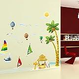 SMNCNL Selbstklebende Wandaufkleber Meerblick Schlafzimmer Wohnzimmer Glasdekorationen wall Poster kreative Sand Hintergrund