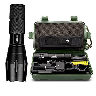 T6 Upgrade L2 LED Flashlight,Ledeak CREE 1200 Lumens LED Torch ,5 Modes Zoomable Waterproof Tactical Flashlight with USB Charger&18650 Rechargeable Battery&Cycling Handlebar Mount&Flashlight Holster