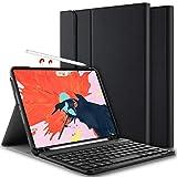 ELTD Tastatur Hülle für iPad Pro 11 [Deutsches QWERTZ], Ultra Slim leicht Ständer PU Schutzhülle Hülle mit magnetisch Abnehmbarer Kabellose Tastatur für Apple iPad Pro 11 Zoll 2018 [Schwarz]