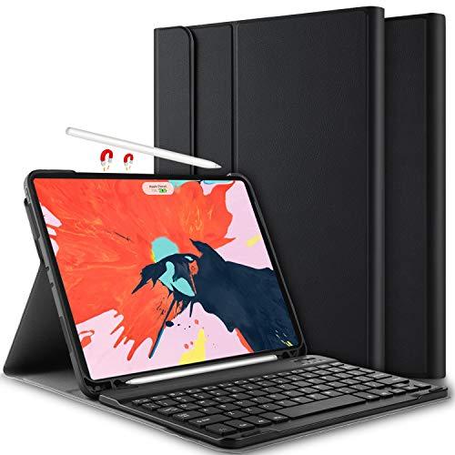 für iPad Pro 11 [Deutsches QWERTZ], Ultra Slim leicht Ständer PU Schutzhülle Hülle mit magnetisch Abnehmbarer Kabellose Tastatur für Apple iPad Pro 11 Zoll 2018 [Schwarz] ()