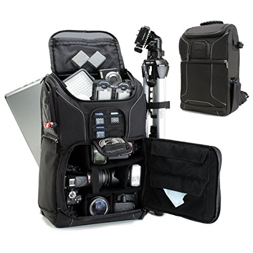 Usa gear zaino a tracolla professionale per fotocamera dslr con cover antipioggia , spazio per accessori e con tasca per portatile da 43 cm funziona con canon eos , nikon , sony , pentax e altri