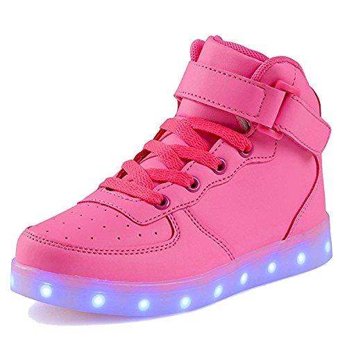 SAGUARO® 7 Farben LED Schuhe USB Aufladen Leuchtschuhe Licht Blinkschuhe Leuchtende Sport Sneaker Light Up Turnschuhe Damen Herren Kinder, Rose (Up Schuhe Light Womens)