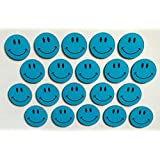 20 imanes decaritas sonrientes, 2 cm de diámetro, color azul