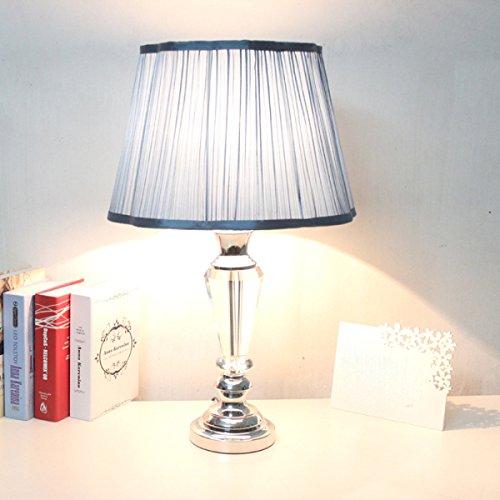 Luxe De Style Européen Couvertures Bleues Lampes De Table En Cristal Chaleureusement Décorées Chevet De L'étude Lampe Chambre (bleu),Dimming