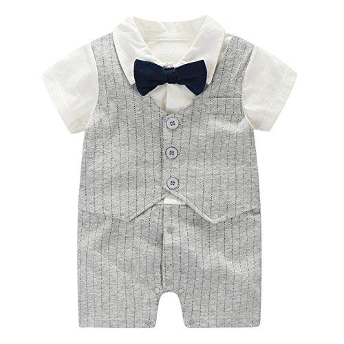 Fairy Baby Baby Outfits Jungen Smoking Anzug Kurze Abendkleider Festliche babymode Kleidung mit Fliege Strampler, Grauer Streifen, 12-18 Monate