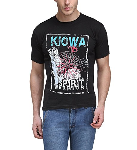 FILIMORE Men's Round Neck Half Sleeve Black Kiowa Tribal Warrior Casual 100% Cotton T Shirt  available at amazon for Rs.169