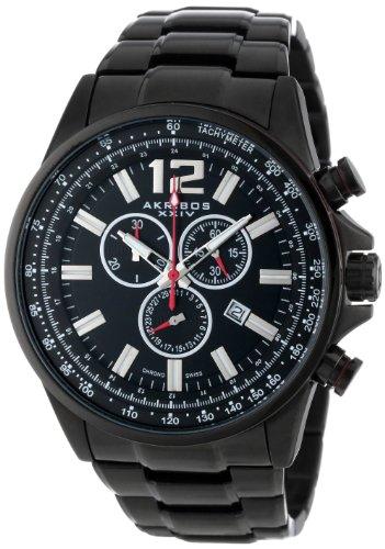 Akribos XXIV da uomo Swiss Conqueror-cronografo e cinturino in acciaio INOX, colore: nero