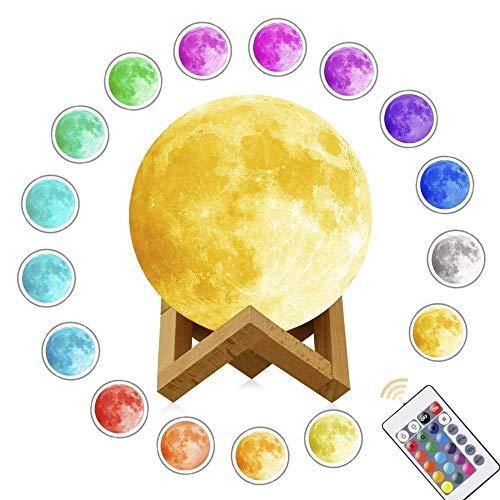 GERMAN BOX 15cm LED Mond Lampe mit Fernbedienung Farbige Dekoleuchte 3D Mond Kunst LED RGB Mondlicht tragbares Nachtlicht und Berührungssteuerung mit Standfuß, USB wiederaufladbar -