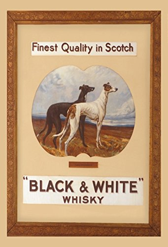 Black & White Scotch whisky windhund alkohol schild aus blech, metal sign, deko schild (Black-schild)