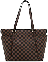 Fashion Bazaar Designer Style Check Shoulder Bags - Faux Leather Tote - Barrel Style Gym Weekend Duffel Travel Bag - Checked Handbag with Coin Purse