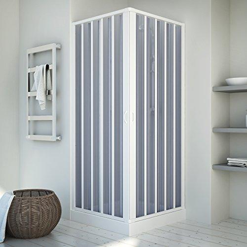 Duschkabine | Eckeinstieg | Falttürsystem | München | PVC transparent | 80-60x80-60 x 185 cm, weiss