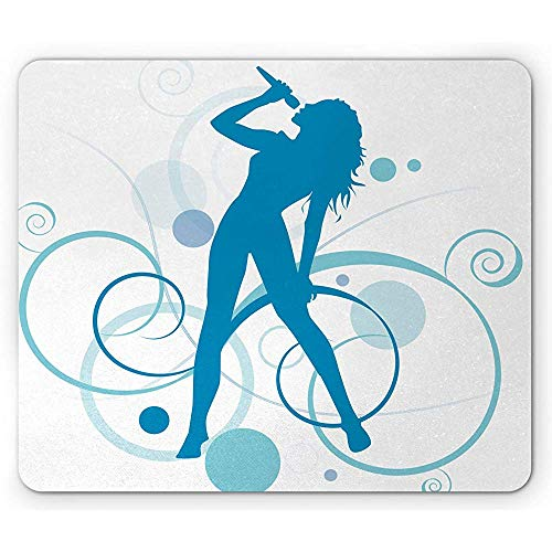 Silhouette Mauspad, Monochrome Sängerin Star Diva Mikrofon Curvy Ornaments Print, rutschfestes Gummi-Mousepad, Sea Blue