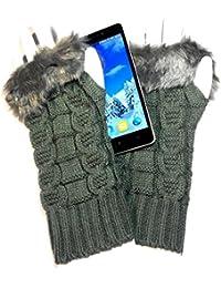 PRESKIN – Stylishe Stulpen-Handschuhe, Cool – aber warm, Strick-Design mit kuscheligem Kaninchen-Fell Optik, mehr Fingerspitzengefühl für's Smartphone, Navi, Tablet ...