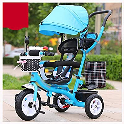 RUMIAO Baby Tricycle, [Rotating Seat] Baby Stroller, Adjustable Three-wheeled Cart, Increase Rear View Sunroof, Double Brake System, 0-6 Months,Blue