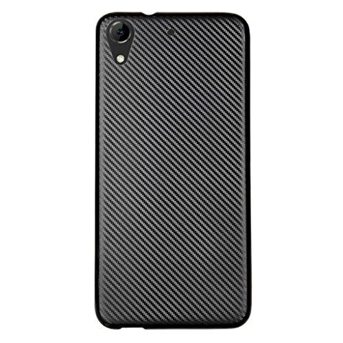 HTC Desire 626 Coque - Simple Mince Doux Silicone Housse Shock Absorption Bouclier Case avec Fibre de Carbone Brossé Motif Etui Coque pour HTC Desire 626 - Noir