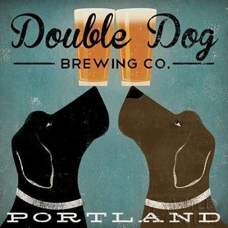 Feelingathome- imprimer-sur-toile-100%coton-Double-Dog-Brewing-Co.-cm57x57-affiche-reproduction-gravure-