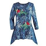 VEMOW Heißer Elegante Damen Plus Size Oberteile Winter Festliche Wasserfall Weihnachten Unregelmäßige Lässige Tägliche Party Lose Hem Bluse Top(X1-Blau, EU-46/CN-XL)