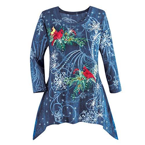 VEMOW Heißer Elegante Damen Plus Size Oberteile Winter Festliche Wasserfall Weihnachten Unregelmäßige Lässige Tägliche Party Lose Hem Bluse Top(X1-Blau, EU-54/CN-5XL)