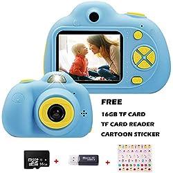 KIDOVE Macchina Fotografica per Bambini, Mini Fotocamera Digitale Portatile, Digital Camera Kids Videocamera HD 1080P / 8MP / con Scheda SD da 16 GB (Azul)