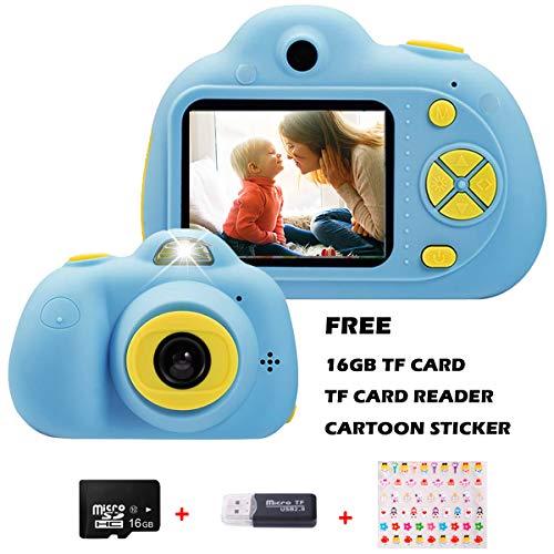 Appareil photo numérique Kriogodsr pour enfant 8 mégapixels 1080P HD Double caméra Sefie 2 Mini-appareil photo numérique avec écran couleur LCD Carte 16 Go incluse Cadeau créatif pour garçons (Bleu)
