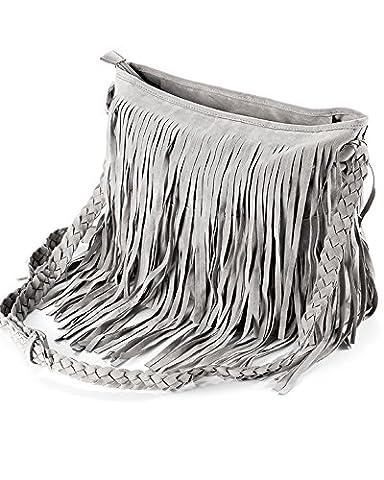 Ladies Fringed Cross Body Suede Tassel Bag (Grey)