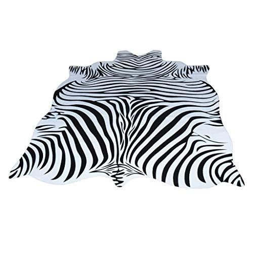 Teppiche Zebra-Kuhfell Nordamerikanischer Tier-Schwarzweiss Wohnzimmer-Schlafzimmer-Nachttisch-Couchtisch-Matte Geformte Dünne Bodenmatte (Color : Weiß, Size : 140 * 200cm) -