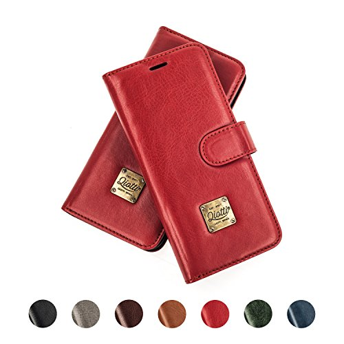 Apple iPhone X Ledertasche, QIOTTI Folio Leder Wallet Case mit [ RFID Schutz Blocking ] [ Standfunktion ] [ Kreditkarten Fächer ] [ Magnetverschluss ] [ ECO-FAUX Leder ] Flip Cover Hülle für iPhone X  ROT