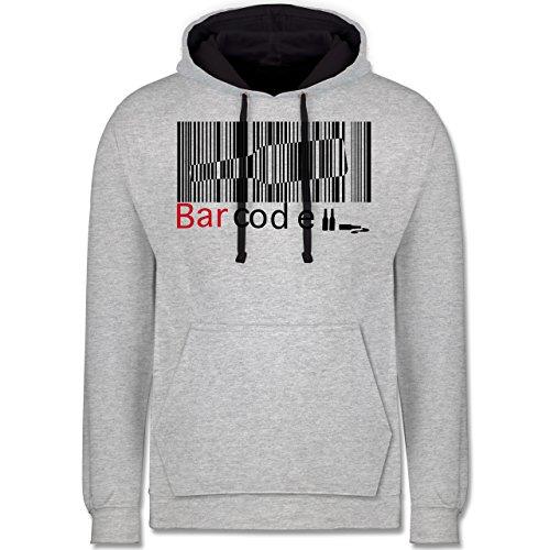 Sprüche - Barcode - Kontrast Hoodie Grau meliert/Dunkelblau