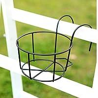 Kofun Hanging Plant Iron Racks Balcony Round Flower Pot Rack Railing Fence Outdoor Black