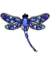 YAZILIND exquisita libelula incrustaciones de diamantes de imitacion de aleacion broche de flores de las mujeres accesorios de las ninas