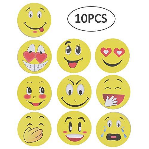 Gesichts-block (Emoji Haftnotizen, niedliches Smile-Gesicht, selbstklebend, entfernbar, 10 Blöcke - 10 Blatt pro Block 10Stück)